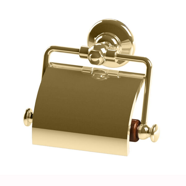 Thomas Crapper Elegant Toilet Roll Holder with Cover Polished Brass