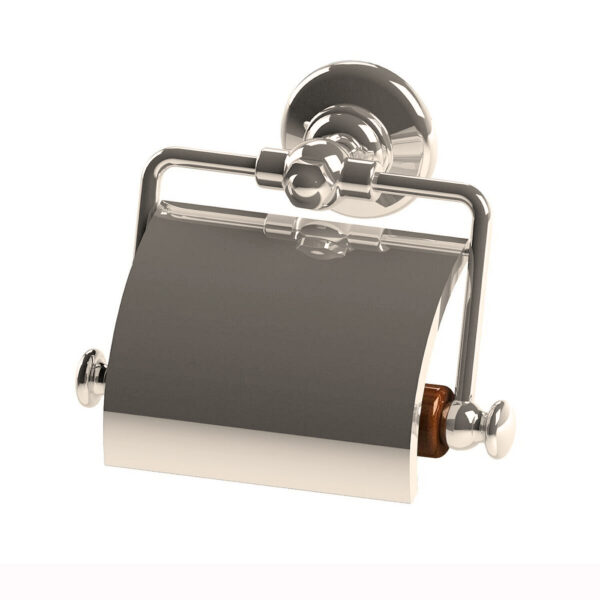 Thomas Crapper Elegant Toilet Roll Holder with Cover Nickel